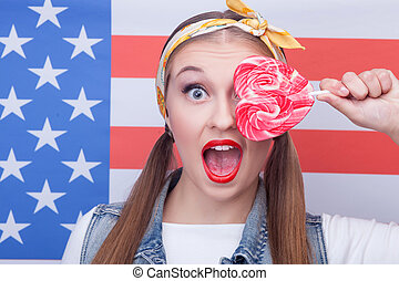 上色, 甜, 糖果, 美國人, 有吸引力, 女孩