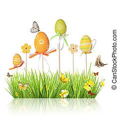 上色, 蛋, 被隔离, 草, 背景, 白色, 復活節