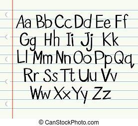 上部, より低い, アルファベット, 英語, 場合, 手書き