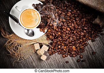 上部, コーヒー, 木製である, 生活, 表面, まだ, 光景