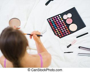 上部, 女の子, 適用, makeup., 光景