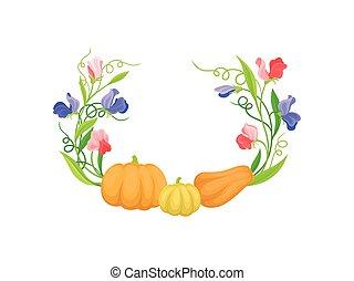上, イラスト, ギャップ, バックグラウンド。, ベクトル, pumpkins., 茎, 上昇, 白いリング