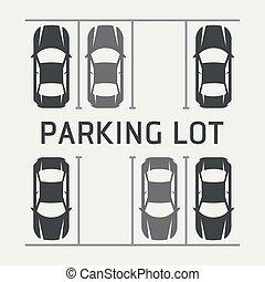 上, -, イラスト, ベクトル, たくさん, 駐車, 光景