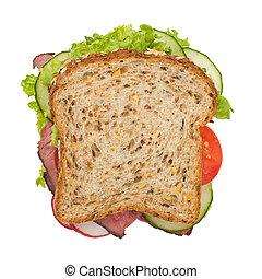 上, サンドイッチ, 焼き肉 ビーフ, 光景