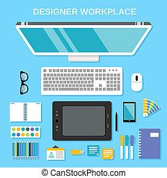 上, デザイナー, 仕事場, 光景