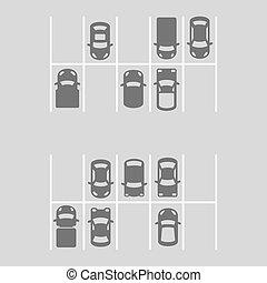 上, ベクトル, 光景, lot., 駐車