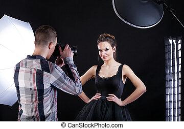 上, モデル, そして, カメラマン