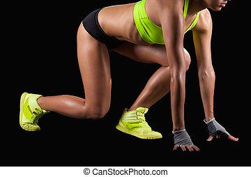 上, 你, marks!, 年輕, 健身, 婦女, 在, 開始, 位置, 准備好, 為了跑