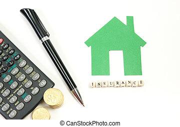 上, 単語, ペン, ハウジング, 机, insurance., 金, ブロック, コイン, モデル, 概念, 緑, ビュー。, オフィス, メモ用紙, テーブル, 家, 木製である, calculator., 供給, 購入