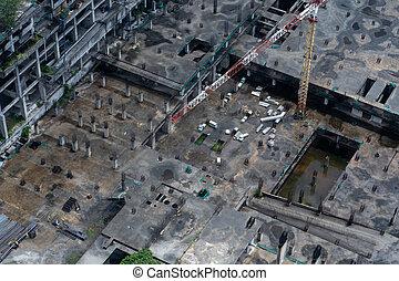 上, 建設, 建物, 床, rain., 後で, built., サイト, 山, 大きい, 運転された, より低い, 光景