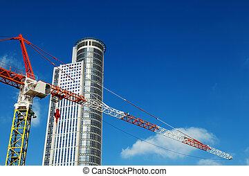 上, &, 抜粋, クレーン, 超高層ビル