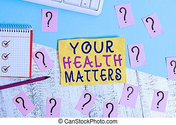 上, 滞在, ペーパー, 道具, 健康, matters., 写真, 走り書きされた, あなたの, ビジネス, wellness, 健康診断, 提示, テーブル。, フィットしなさい, showcasing, 健康, メモ, 執筆, 重要, 木製である