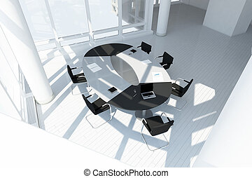 上, 現代, 屋根裏, オフィス, 光景