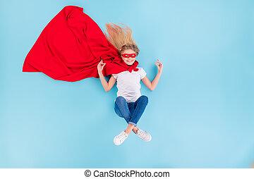 上, 角度, マント, の上, 平和である, 背景, 光景, 位置, ウエア, 子供, om の 記号, 隔離された, 高く, ジーンズ, 青, 白, 写真, tシャツ, 色, 瞑想しなさい, ショー, superhero, 赤, マスク, 上に, デニム