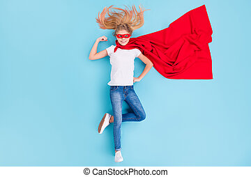上, 長さ, 角度, マント, の上, 背景, 光景, 位置, ウエア, わずかしか, 子供, 隔離された, 筋肉, 高く, ポジティブ, 青, フルである, 女の子, 写真, 力, 色, ショー, 彼女, 岬, 赤, マスク, 上に, superwoman