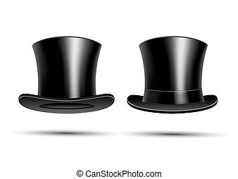 上, 黒, 帽子