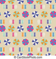 上, pattern., seamless, ベクトル, 浜, 傘, 光景