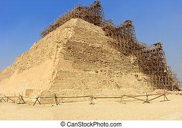 下に, ステップ, ピラミッド, 保存, djoser