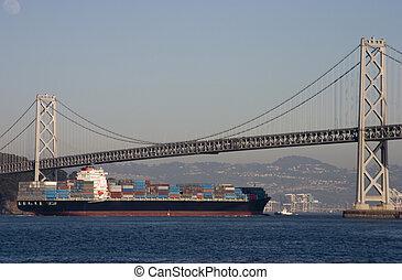 下に, 橋, 船の 容器