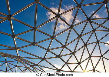 下に, 現代, 青, 曲がった, デザイン, フレーム, 鋼鉄, 構造, 空