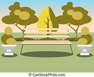 下に, park., 木, ベンチ