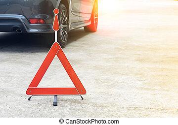 下來, 汽車, 打破, 路標