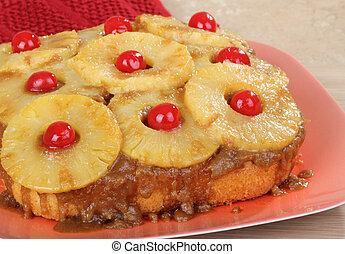 下方に, そっくりそのまま, 上側, ケーキ, パイナップル
