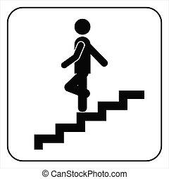 下方に, シンボル, 行く, 階段, 人