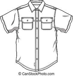 下方に, ボタン, 男性, ワイシャツ