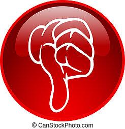 下方に, ボタン, 親指, 赤