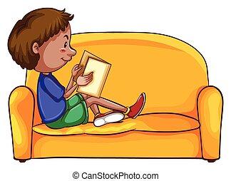 下方に, モデル, 男の子の読書, 間