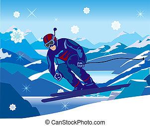 下方に, 傾斜, 丘, スキーヤー