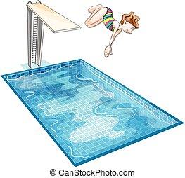 下方に, 女の子, ダイビング, プール, 水泳