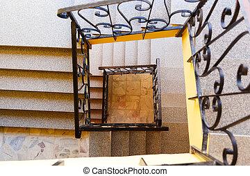 下方に, 見る, 物語, 3, 階段
