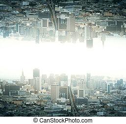 下方に, 都市, 上側
