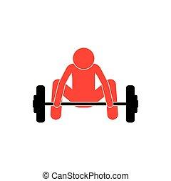 下来, 人, weightlifting, 色彩丰富, pictogram