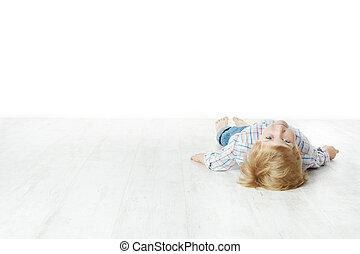 下来, 男孩, 很少, 躺, 地板
