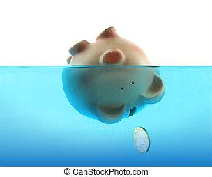 下沉, 蓝色, 淹死, 水, 小猪, 代表, 债务, 银行