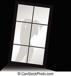 下着, シルエット, イラスト, 窓, 前部, 女の子