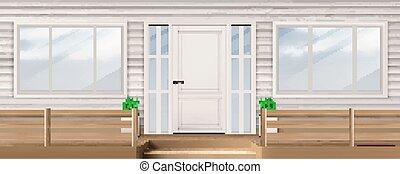 下見張り, ドア, 白, ファサド, 壁, 窓, 家
