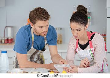 下記, 恋人, レシピ, 若い, 台所