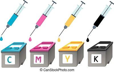 下降, cmyk, perspective., 彈藥筒, 墨水, 注射器