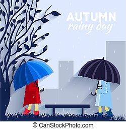 下雨, 傘, 人們, concept., 插圖, 秋天, 矢量, 設計, 背景, 天
