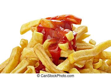 不健康的食品, 油煎, 法語, 快, 蕃茄沙司