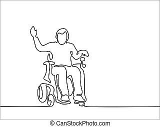 不具の人, 上に, 電気の車椅子