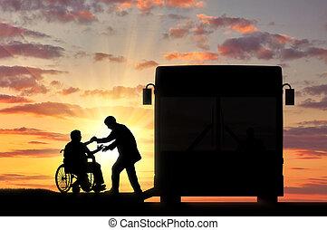 不具, バス, 車椅子, 来なさい, 助け