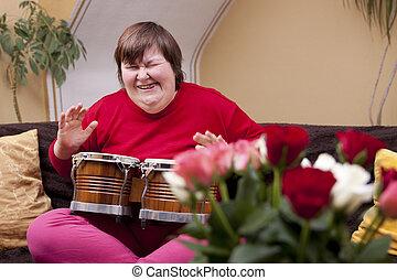 不具, プレーする, 女, ドラム, mentally