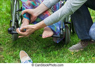 不具, 助力, 車椅子, 女, 人