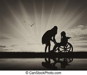 不具 子供, 中に, 車椅子, 叫ぶこと, そして, 彼の, 母, 上に, 浜, そして, 反射