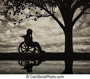 不具 子供, 中に, a, 車椅子, 叫ぶこと, 近くに, 木, 上に, 浜